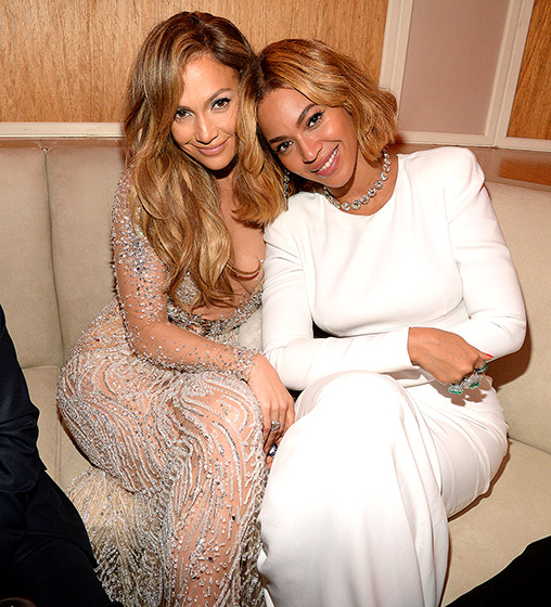 Jennifer Lopez and Beyonce at the Vanity Fair party